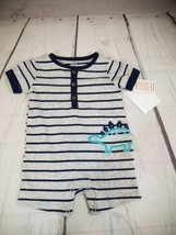 Just one you by Carters 6 m one piece outfit gray blue striped short sleve - $8.54