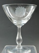 Bryce Cut glass rose patten dessert / champagn Made in USA Mt Pleasant ... - $16.70