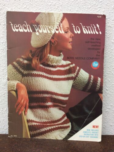 Teach Yourself To Knit Vintage Craft Book 1968 31 Pages Boye Needle Company