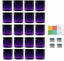 Purple 4 oz Plastic Jars with Black Lids 20 pk with Mini Jars - PET Roun... - €36,02 EUR