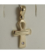 SOLID 18K YELLOW GOLD CROSS, CROSS OF LIFE, ANKH, DIAMOND, 0.91 IN MADE ... - £220.24 GBP