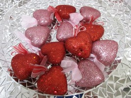 "Valentines Day Red Pink Glitter Hearts 2"" Ornaments Decorations Decor Se... - $15.99"