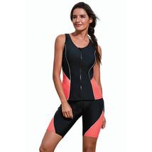 black Casual surf suit summer contrast color vest square split swimsuit ... - $31.43