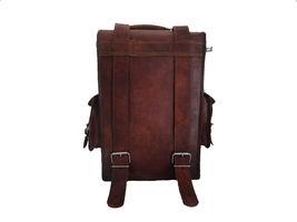 Real Buffalo leather handmade Backpack rucksack laptop Treking unisex Travel bag image 5