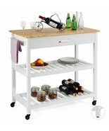 Multifunction Kitchen Island Rolling Trolley Cart-White - $186.79