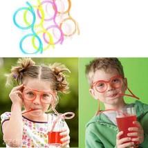 Colourful Kids Soft Flexible Drinking Straw Eyeglasses Drink Juice Tube ... - $0.94+