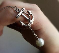 Silver Anchor Pearl Bracelet Silver Sideways Anchor Bracelet Pearl Charm... - $26.00