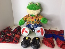 BUILD A BEAR Babw Stuffed Green Cream Frog Plush 19in And Clothes Shoes ... - $33.65