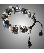 Pearl Bracelet with Black and White Blister Pearls - $130.00