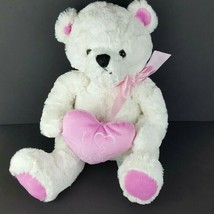 "Animal Adventure Plush I Love You White Pink Valentines Teddy Bear 16"" #A54 - $10.89"