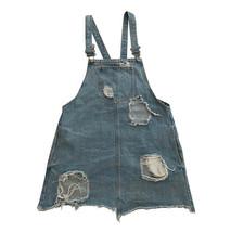 Womens Forever 21 medium Denim Dress Overalls Jumper Distressed Destroye... - $4.94