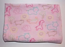 Circo Pink Animal Blanket 40x30in Baby Girl Security Lovey Giraffe Hippo... - $19.99