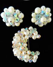 Vtg AB Crystal faux pearl Laguna clip on earrings Crescent Moon brooch p... - $22.72