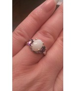 STERLING SILVER  1.4CT OPAL AND AMETHYST RING - SIZE 6 - $116.42