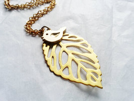 Matte Gold Bird Leaf Necklace Filigree Leaf Necklace Gold Sparrow Necklace - $28.00