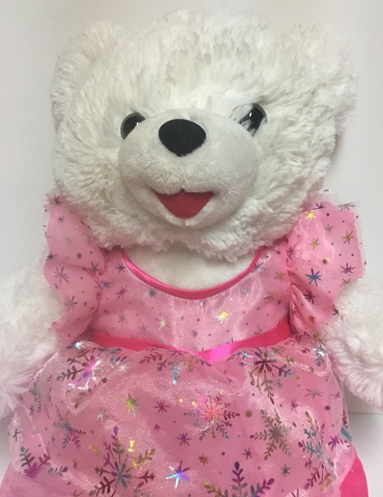 "Snowflake Plush Teddy Pink 2017 Holidays 19"""