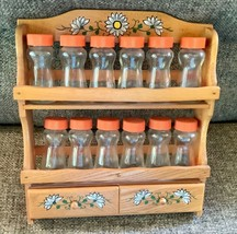 Vtg retro 60's Wooden Counter wall Spice Rack 12 Glass Apothecary Bottle... - £37.98 GBP