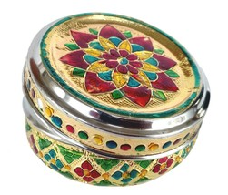 Small Stainless steel Flower design food storage box easy carry gift ite... - $23.94