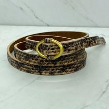 Talbots Leather Snakeskin Skinny Thin Belt Size Large Womens - $17.06
