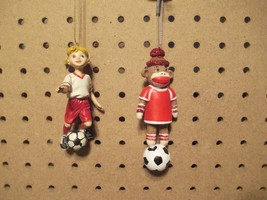 LITTLE SOCCER GIRL & SOCCER SOCK MONKEY Ornaments - Set of 2 - $10.00