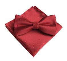 Men's Red Silk Bowtie Pocket Square Set Cravat Hanky Handkerchief For Pr... - $17.73