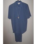 Pride & Joy Ladies Pant Suit Size 8 Blue with Ceramic Necklace Embellish... - $16.99