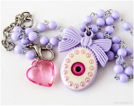 Pastel Goth Eyeball Necklace, Beaded, Lavender, Kawaii Jewelry, J-fashion - $17.00
