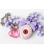 Pastel Goth Eyeball Necklace, Beaded, Lavender, Kawaii Jewelry, J-fashion - $17.00
