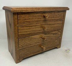 Amish Crafted Shaker Four Drawer Jewelry Chest, Box, Cabinet - Oak Wood ... - $189.00