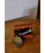 Brass Mini Telescope In Wooden Box & Brass Compass World Travel Art Set ... - $69.43