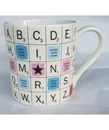 RARE 2012 HASBRO Scrabble Tiles Ceramic Game Board Coffee Mug By Will & ... - $29.39