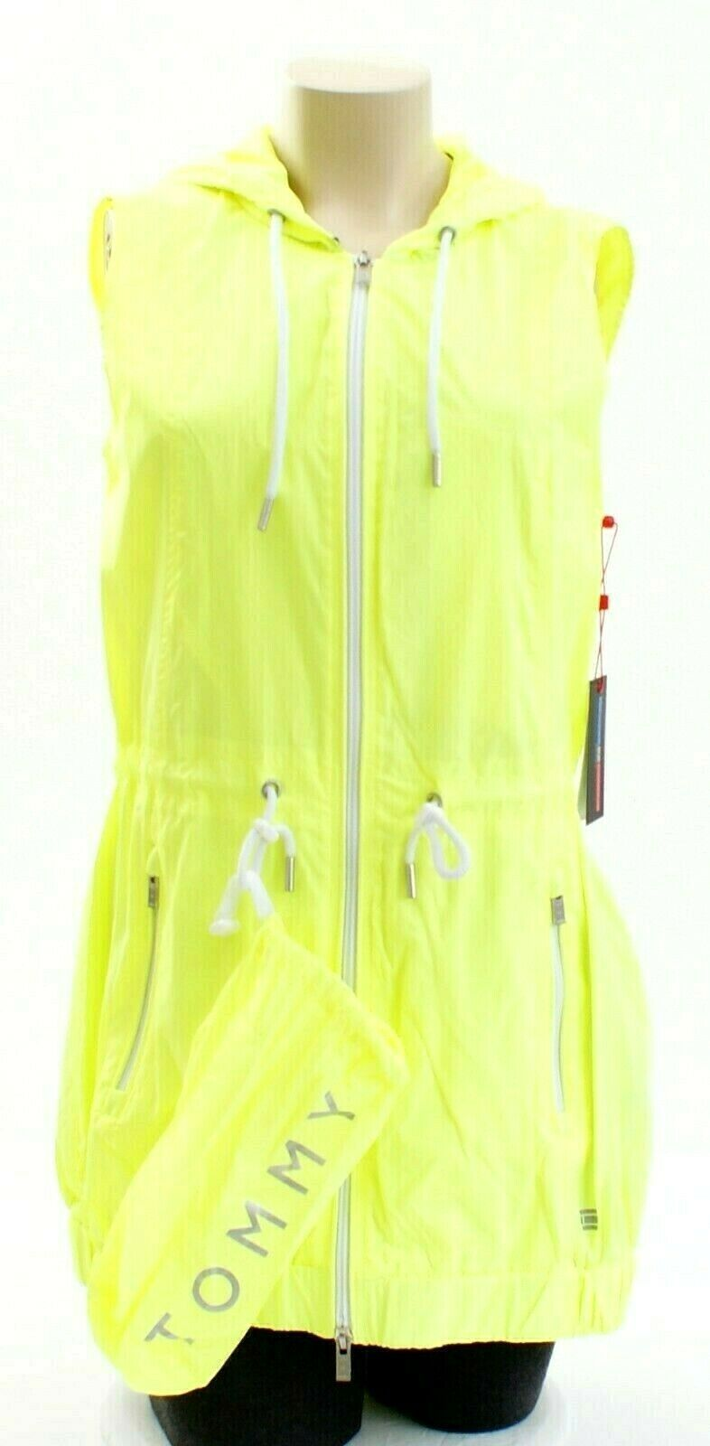 Tommy Hilfiger Yellow Zip Front Drawstring Hooded Sport Vest Women's Packable image 6