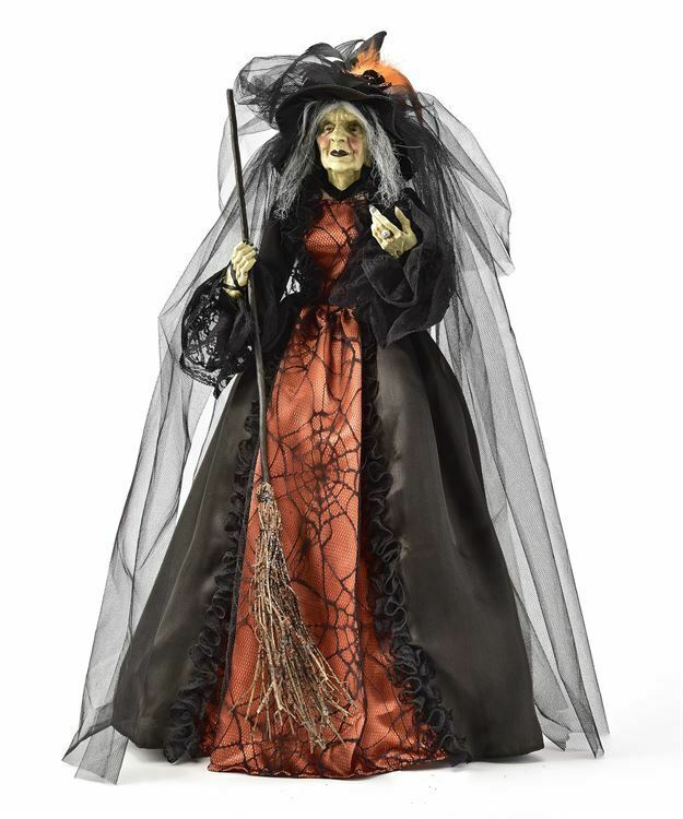"""25"""" Fabric Wicked Creepy Green Witch with Cone Base, Broom Orange & Black Gown"""