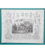 MYTHOLOGY Roman Gods Zeus Centaur Ares Ariadne Sacrifice - 1844 Superb P... - $21.60