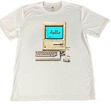 Hello Old Macintosh Working Computer Wicking T-Shirt w Flag Car Coaster - $14.80+