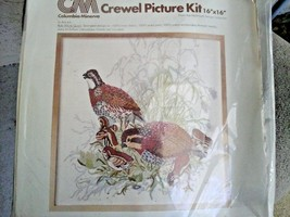 Vintage 1977 Columbia-Minerva Crewel Embroidery Kit 16 x 16 inch BOB WHI... - $38.60