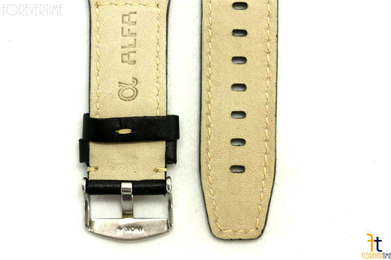 24mm Nero in pelle Liscia Rivetto Orologio con Cinturino per Luminox Anallergico