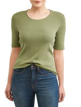 Time And Tru Women's Scoop Neck Elbow Sleeve T Shirt 3XL (22) Bay Leaf G... - $11.57