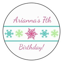 12 Personalized Winter Snowflake Birthday Party Stickers Favors Labels t... - $8.99