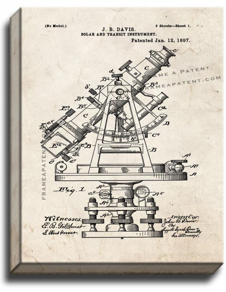 Primary image for Solar And Transit Instrument Patent Print Old Look on Canvas