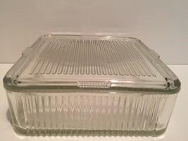 "Vintage Federal Glass Refrigerator Dish W/ Lid 8 1/2"" SQUARE - $24.75"