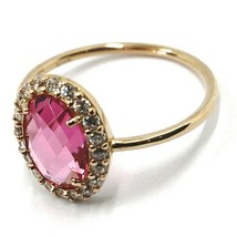 SOLID 18K ROSE GOLD FLOWER RING, CUSHION PINK OVAL CRYSTAL CUBIC ZIRCONIA FRAME image 2