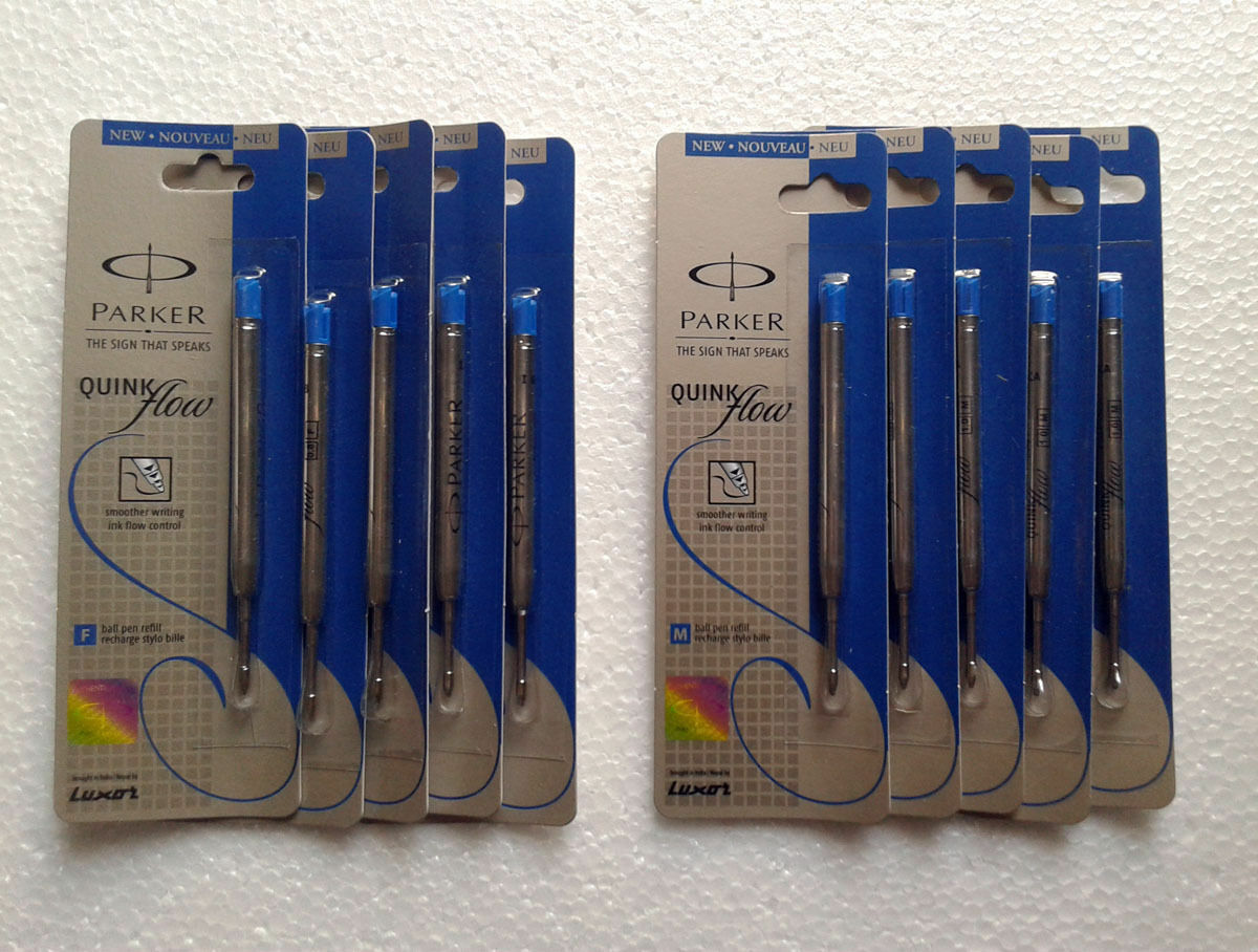 10x Parker Quink Flow Ball-Point MEDIUM BLUE Ink Refill ** LIMITED STOCK OFFER *