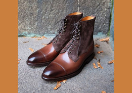 Handmade Two-Tone Brown Lace Up Cap Toe Boot, Men Leather Suede Ankle Hi... - $159.99+