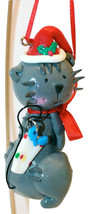 Gray Kitty Cat with Jingle Bell-Christmas Ornament By Kurt Adler-Set of 2 - $8.54