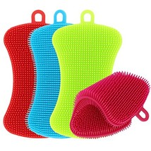 Kitchen Silicone Sponge, TIMGOU 4 Pack Anti-Bacterial Cleaning Scrubber ... - $14.90