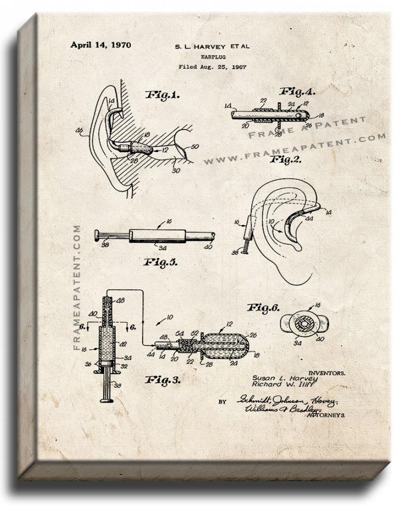Primary image for Earplug Patent Print Old Look on Canvas