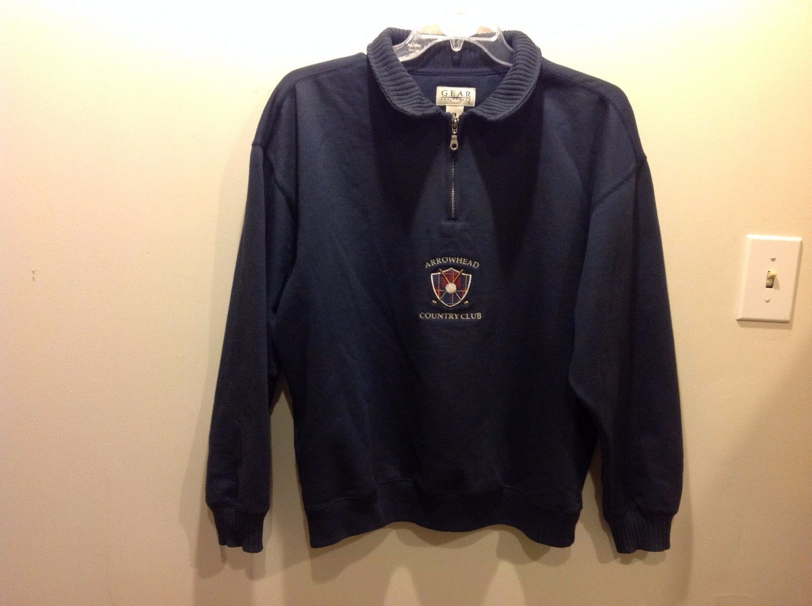 Navy Blue Arrowhead Country Club Golfing Collared Sweater Sz XL