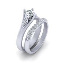 Approx 0.25cttw Diamond Center 0.50ct White Moissanite Wedding Ring Set For Her - $1,649.99