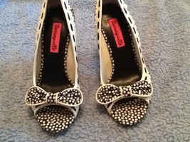 Betseyville Black&White Rockabilly Polka Dot Open Toe Bow Heel Sz 6m - $27.71